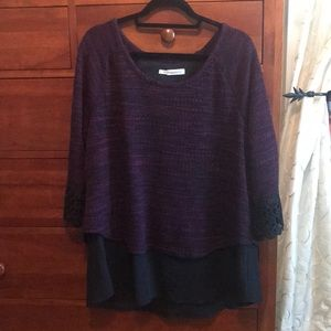 Maurices 1X purple & black layered top with lace